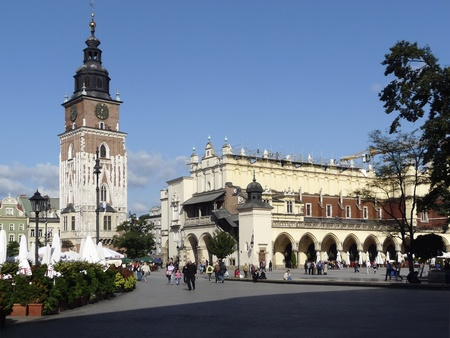 cracow: City hall tower and cloth hall in Krakow in Poland