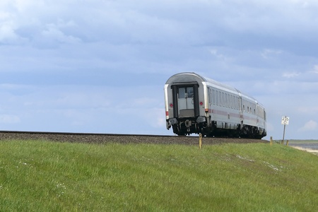 Train on the Hindenburg-causeway, the most important link between the German mainland and the island of Sylt