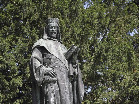 ludwig: Bonze statue of Charles IV (1316-1378), Holy Roman Emperor, in the little town Tangermuende in Germany
