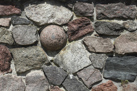 oblong: A castle wall with cannonball in Tangermuende, Germany Stock Photo