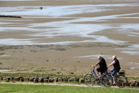 CCyclist at low tide at the mudflats on the island of Sylt