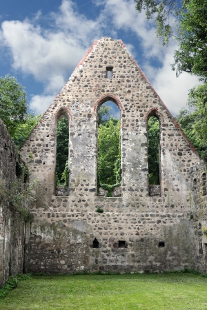 Gable end of the destroyed monastery church in Zehdenick in Germany photo