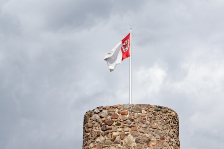 erratic: Owls tower and municipal flag in Templin in the Uckermark
