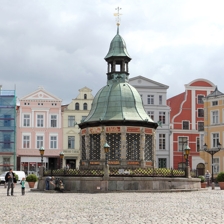 waterworks: The waterworks at market place of Wismar in Germany