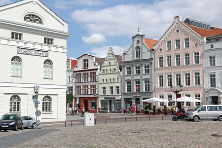 market place: Town hall and patrician houses at market place of Wismar in Northern Germany Editorial