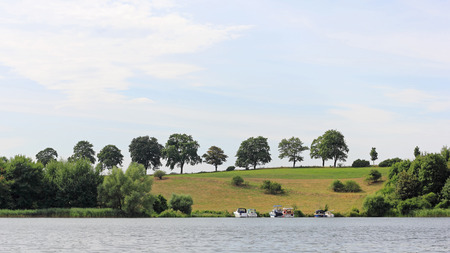 riparian: Lakeside road at lake Ziegelsee in Schwerin, Germany