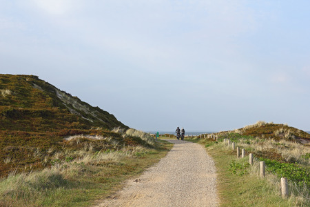 bikeway: Cycle path on the island of Sylt in Germany