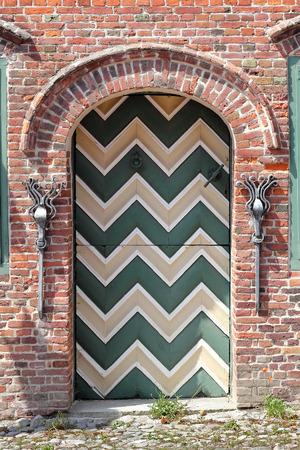 Traditional door in Sankt Peter Ording in Northern Germany