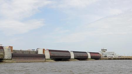 lift gate: Landward side of the Eider Barrage at the German North sea coast