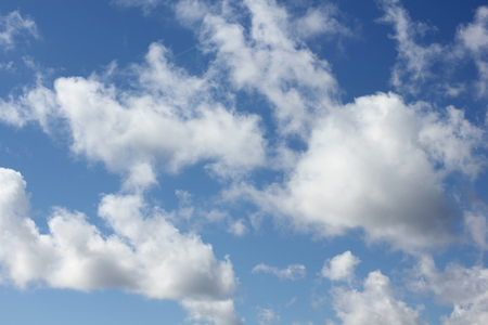 ephemeral: Cumulus clouds at blue sky