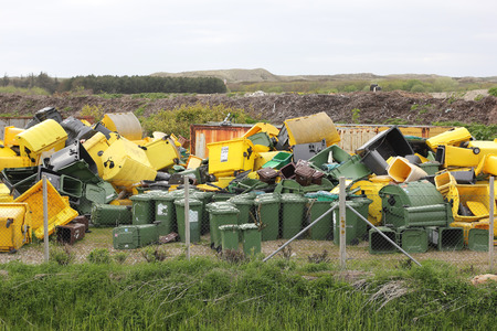 storage bin: Dumpsters on a rubbish dump Stock Photo