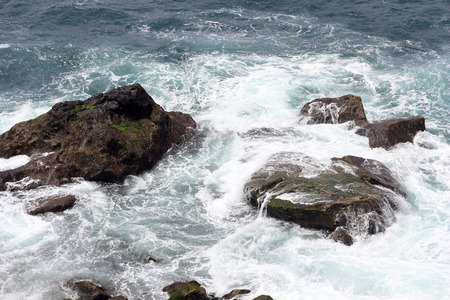 the surge: Rocks in the surge off the Atlantic island of Madeira Stock Photo