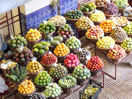 Exotic fruits on a Farmers market in Madeira Stock Photo