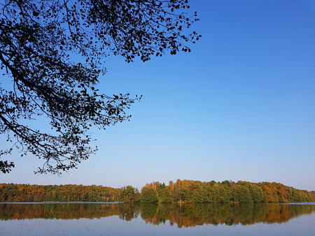Autumnal colors at a lake in Brandenburg state in Germany Stock Photo