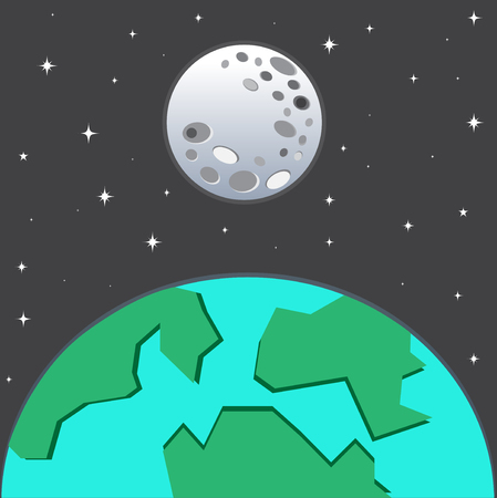 earth from space: Earth And Moon in space with stars Illustration