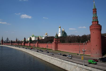 moscow kremlin russia red square brick wall river view Stock Photo - 752034