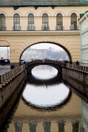 hermitage: canal in saint petersburg near hermitage winter palace
