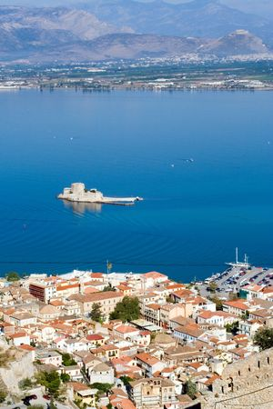nauplio: ancient venetian bourtzi castle in nafplion greece
