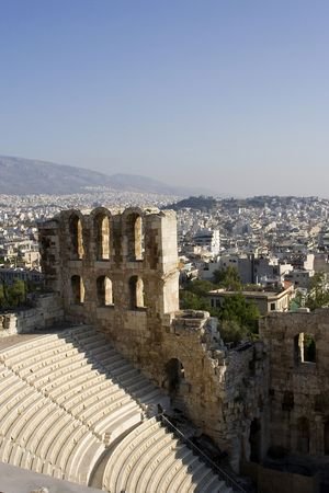 ruinas del teatro Atenas Grecia del odeon del atticus de los herodes Foto de archivo - 991920