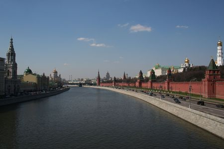 moscow kremlin red square brick wall river view Stock Photo - 1000348