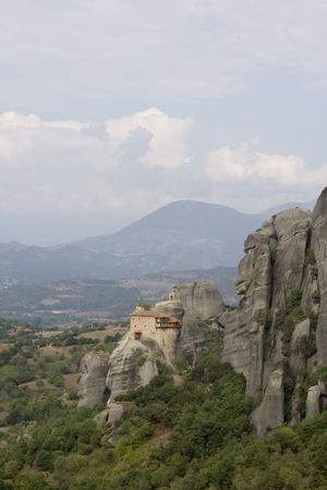 mountain orthodox monastery in meteora greece photo
