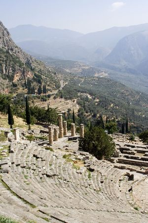 oracle: ruins of temple of apollo  in delphi greece theatre oracle