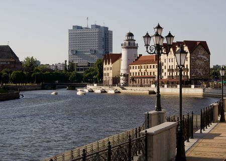 immanuel: river bank view of kaliningrad city russia