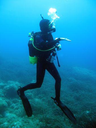 Woman diver Stock Photo - 4611260