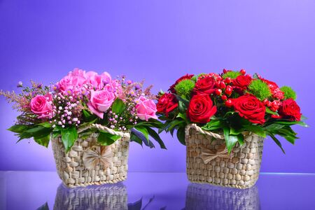 Viola flowers in a basket Stok Fotoğraf