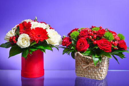 pink rose in basket