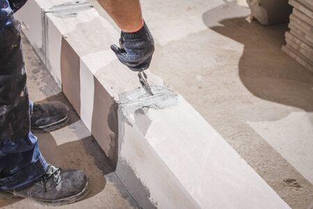 Brick wall construction for house building Stok Fotoğraf