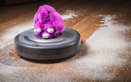 Funny tabby playing with a robot vacuum cleaner. Stok Fotoğraf
