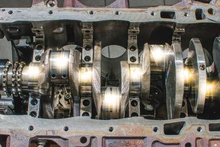 Damaged crankshafr from motorcycle engine.