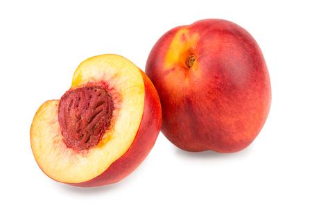 Nectarine fruit isolated on white background macro