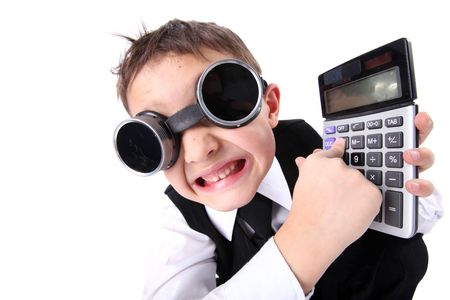 hard time in learning - boy with calculator photo