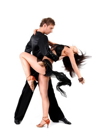 tango dance: latino dancers in action isolated on white Stock Photo
