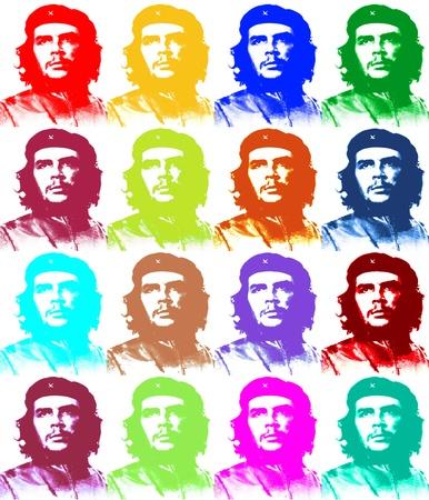 Ernesto Che Guevara paper illustration like a Andy Warhol 4 x 4 Editorial