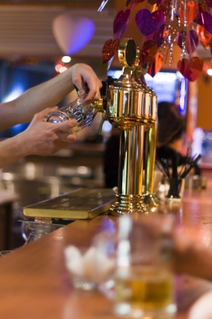 barstools: beer in the stylish night bar