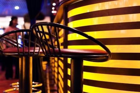 barstools: A stylish night bar with contemporary decor Stock Photo