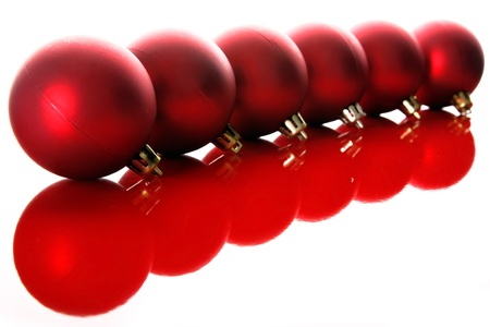 isolataion: red christmas balls with reflections isolated on white Stock Photo