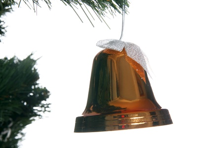 isolataion: christmas bell in fir isolated on white