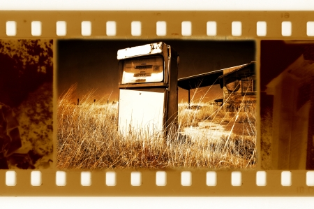 old 35mm frame photo with american retro gas station photo
