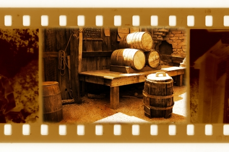 old 35mm frame photo with vintage USA barrels photo