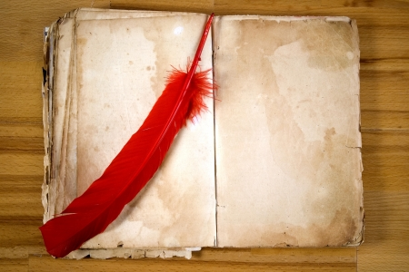 Old Message Book with red feather photo