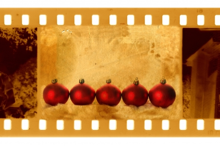 old 35mm frame photo with christmas balls photo
