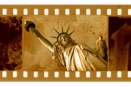 35mm: old 35mm frame photo with NY Statue of Liberty