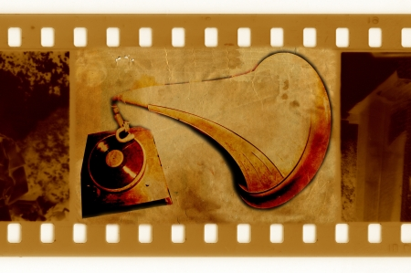 oldies 35mm frame photo with vintage gramophone photo