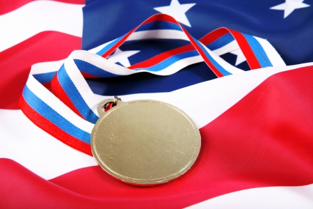 Medal with color Ribbon and USA flag photo