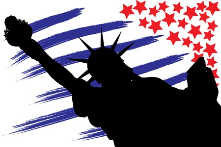 illustration NY Statue of Liberty against a flag of USA illustration