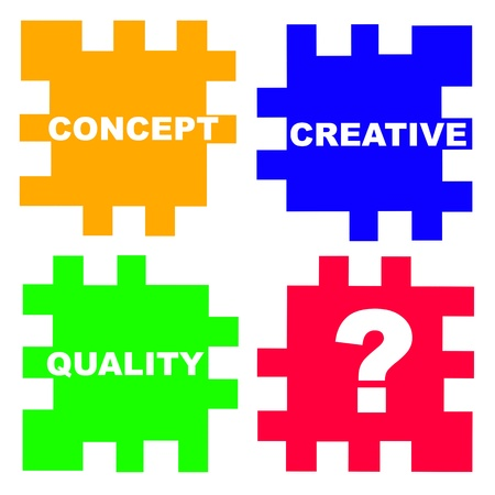 main questions in marketing business in the puzzle game, concept picture Stock Photo - 15723415